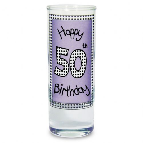 Lilac 50th Happy Birthday Shot Glass gift